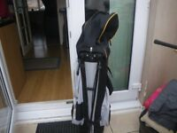 PETER ALLISS TOUR SERIES (TS) GOLF BAG + HOOD. BLACK/GREY. VERY GOOD CONDITION as RARELY USED.