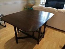 Folding wooden dinning table and 4 chairs