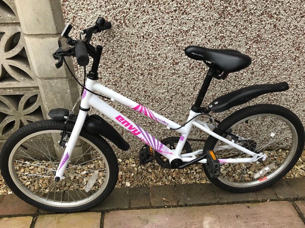 "Apollo Envy Junior Hybrid Bike - 20"" girls White, pink & purple"