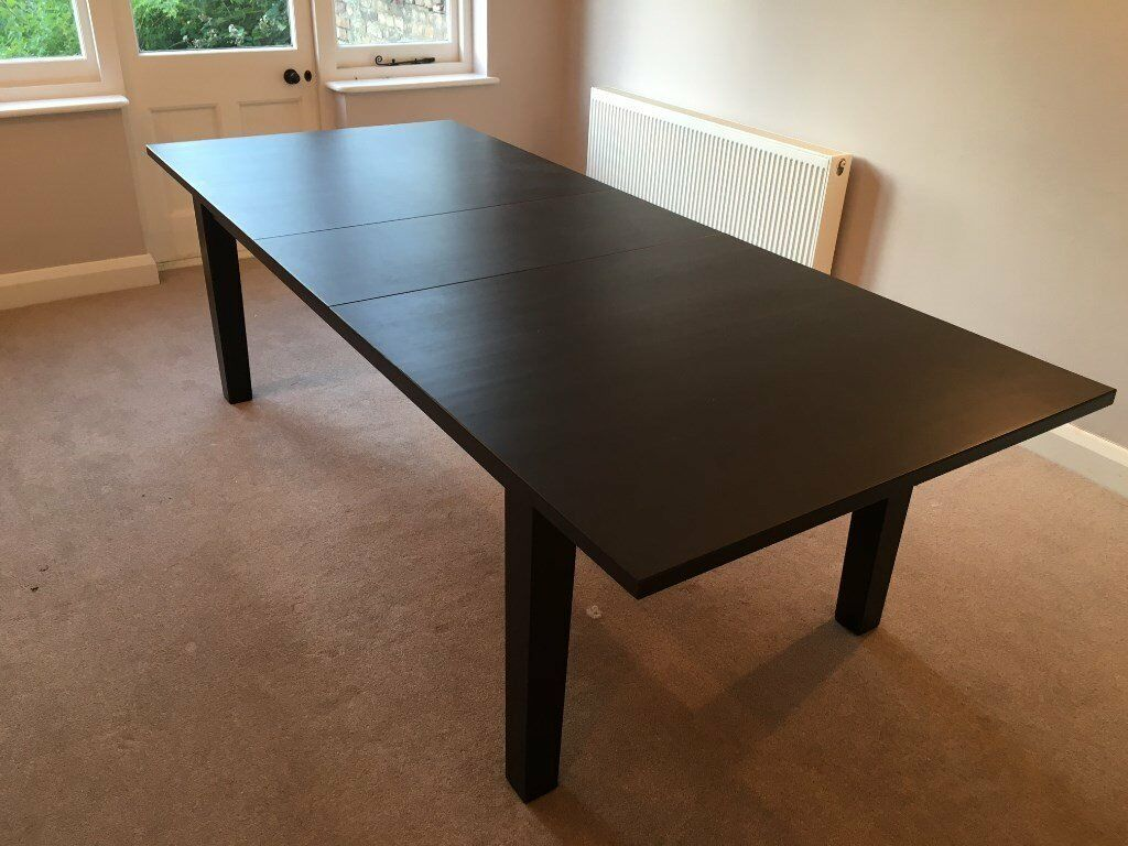 ikea stornas extendable dining table brown black seats