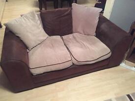 2 Brown cloth sofas