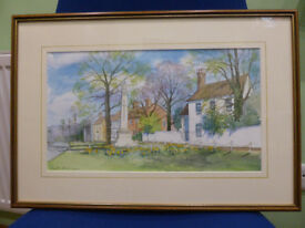 2 Framed watercolour paintings of Stock Village, Essex