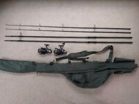 Greys prodigy GT3 12ft 3lb rods and Nash H-Gun FR8 reels with Shimano rod holdall