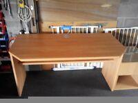 Light oak desk & draw unit