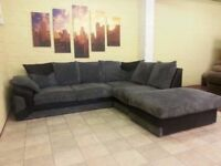 Large Black and Grey Right Arm Corner Sofa - High Density Foam Seats