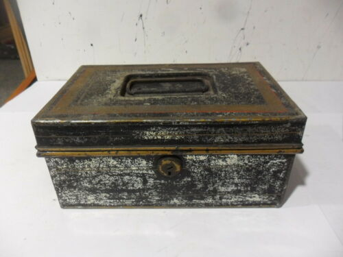 1-Vintage Metal Cash Box with Tray  .