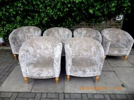 6 X TOP LONDON DESIGNERS MORGAN CHESTERFIELD LOUNGE ARM CHAIRS VELVET EX SHOW DISPLAY COST £4250 VGC