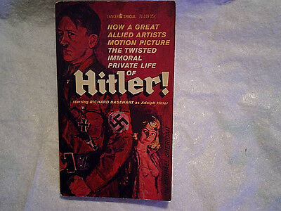 1962 HITLER! MOVIE PAPERBACK Richard Basehart as Adolph,eva braun,nazi,twisted