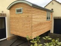 "Shepherds Hut Brand New 14'0''x7'3"" Traditional Oak Chassis and cast iron wheels"