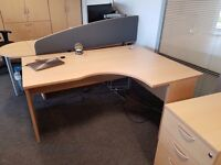 Fantastic 6 x Beech Desks and Matching Drawer Pedestals + Extras Job Lot