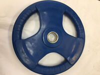 """TRI GRIP OLYMPIC WEIGHT PLATE DISCS GYM BARBELL FXR SPORTS RUBBER 2"""" -50MM HOLE"""