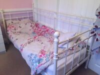 Single Bed with metal frame on 3 sides, Excellent Condition