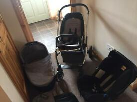Oyster Travel System - Carrycot / Stroller / Britax Stage 1 Car Seat all with grey colour pack