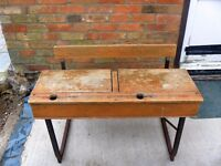 Very old double seat school desk, separate lids, lift up seat, metal frame