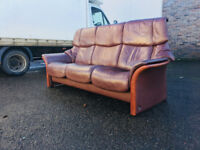 Ekornes Stressless 3 seater brown leather sofa VGC DELIVERY AVAILALBE