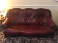 3 Seater Leather Sofa and Wooden Glass Coffee Table