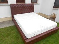 Sleigh Leatherette Kingsize Buttoned Bed+ Pocket Sprung(2000)Mattress