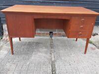 vintage retro Danish wooden teak mid century 60s 70s office work desk with drawers