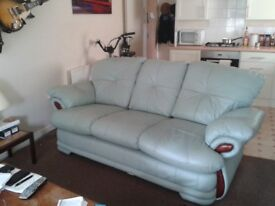 Lime Green Leather Three Seater Comfy Sofa