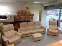 Ekornes Stressless 3 Piece Reclining Suite in Cream Leather