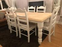 6ft Shabby Chic Farmhouse Oak Table and 6 Lovely Chairs