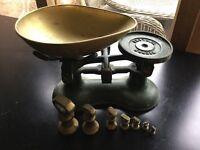 Vintage genuine Victor green kitchen scales and brass weights