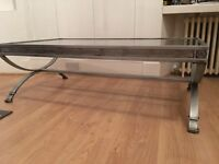 Large metal glass coffee table