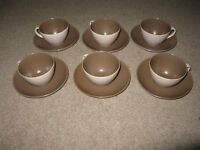 Poole Pottery Twintone Cups / Saucers x 6