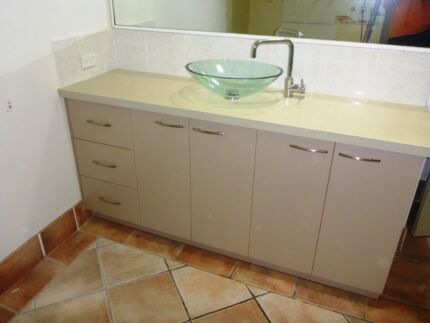 Bathroom Vanity, granite transformation benchtop, glass sink, tap Palm Cove Cairns City Preview