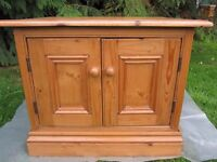 Old Waxed Solid Pine TV Cabinet/Cupboard