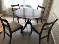 "42"" DIAMETER WOODEN ROUND DINING TABLE WITH MAHOGANY FINISH & 4 CHAIRS"