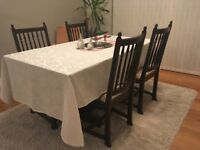 Jaycee solid oak dining table, coffee table, side table and 4 free chairs
