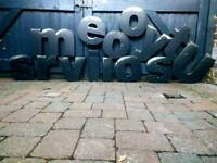 Retro Shop Sign Logo Letters Stainless Steel Distressed / Delivery Available