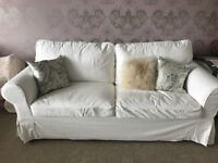 Three Seat White Sofa Bed in Good Condition