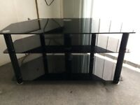 TV Unit / Stand with 3 black glass shelves