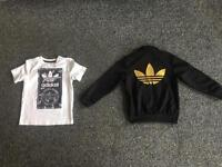 Kids Adidas original t-shirt and tracksuit top.