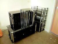 Hygena Matrix black tempered glass furniture set