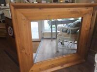 Large , chunky Pine Mirror