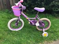 """Girl 12"""" bike with stabilisers and basket"""