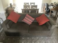 3 Seater Sofa's x 2 plus matching footstool with integrated storage