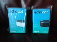 Amazon echo dot 2nd generation smart speakers, 1 black and 1 white, £35 each fixed price