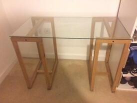 Ikea glass top desk with oak trestle legs