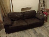 Brown double leather sofa - ***FREE****