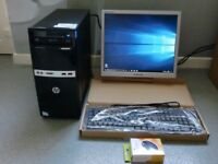 hp computer pc with monitor keyboard mouse 500gb hardrive microsoft office