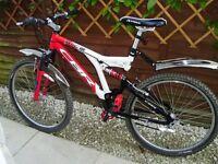 "Claude Butler Red/White Slice Mountain Bike - Full supsension, Shamano, 18"" Frame, Good Condition"