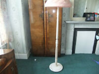Vintage Standard Lamp Cream colour with Pink Shade