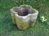 Unusual Vintage Quatrefoil Shaped Cast Stone Garden Planter Garden Pot