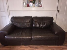 Real Leather brown sofa suite.