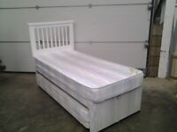 Used Divan Single bed with extra pull out trundle bed underneath. Bargain. Delivery available.
