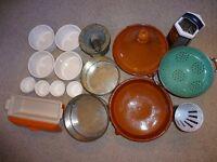 Assortment of kitchen bakeware and equipment